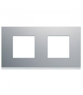 Plaque 2 postes horizontaux Titane Hager Gallery