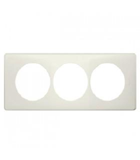 Plaque réno Céliane : Poudré, 3 postes, finition Craie, entraxe 57 mm